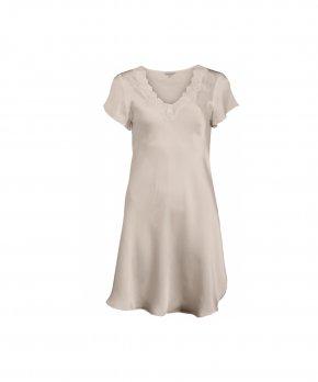 Lady Avenue - Silk Nightgown W/Lace, Short Sleeve