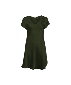 Lady Avenue - Silk Nightgown W/Lace, Short Sleeve